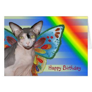 Hada del gato del arco iris del cumpleaños de la tarjeta de felicitación