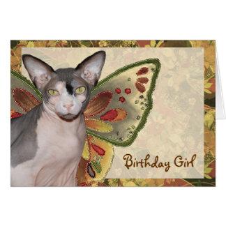 Hada del gato del chica del cumpleaños de la tarje