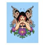 Hada del gótico con las flores, alas de la flyer personalizado