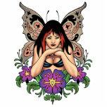 Hada del gótico con las flores, alas de la maripos escultura fotográfica