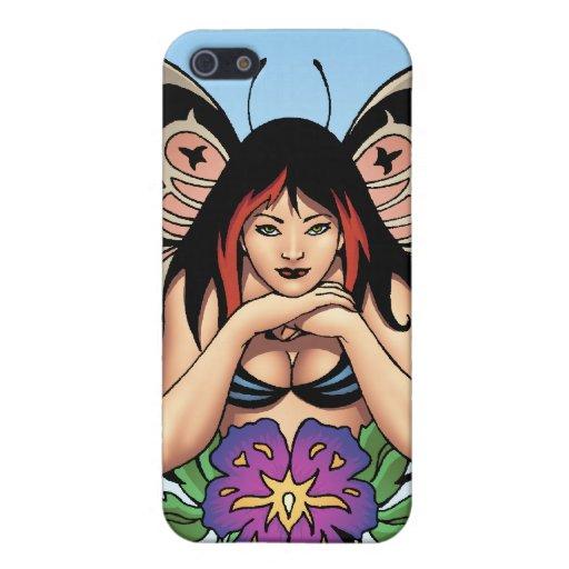 Hada del gótico con las flores, alas de la maripos iPhone 5 cobertura