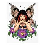Hada del gótico con las flores, alas de la maripos membretes personalizados