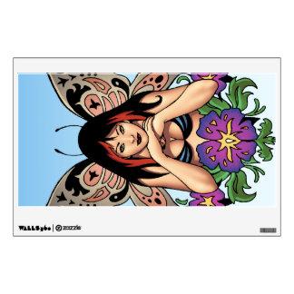 Hada del gótico con las flores, alas de la maripos vinilo adhesivo