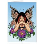 Hada del gótico con las flores, alas de la tarjeta