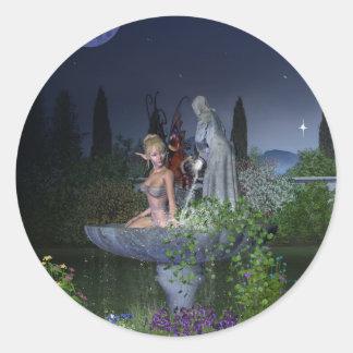 Hada del jardín de la noche pegatina redonda