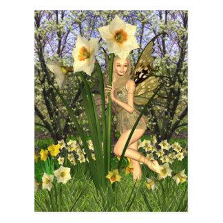 Hada del narciso con el fondo de la primavera tarjetas postales