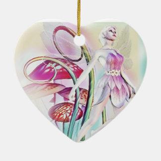 Hada del ornamento de madera adorno navideño de cerámica en forma de corazón