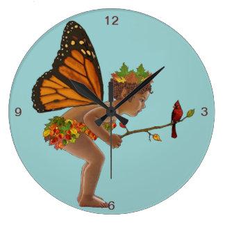 Hada del otoño reloj de pared