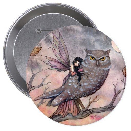 Hada del otoño y botón del búho pin