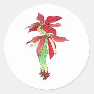 Hada del Poinsettia Pegatina Redonda