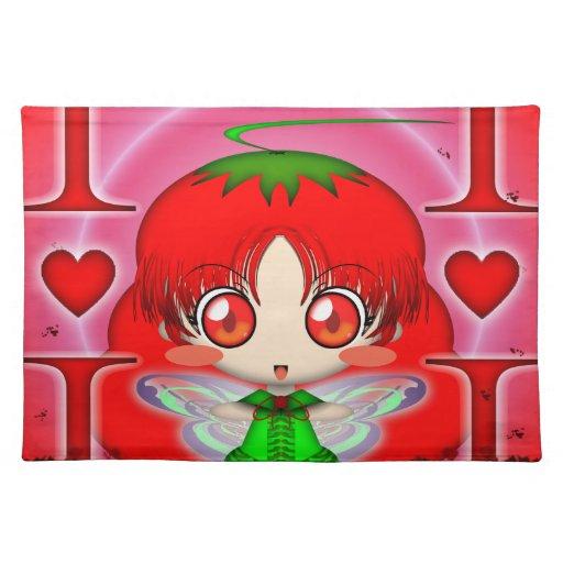 Hada del tomate de Kawaii Chibi Mantel Individual