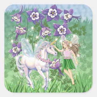Hada del unicornio pegatinas cuadradas personalizadas