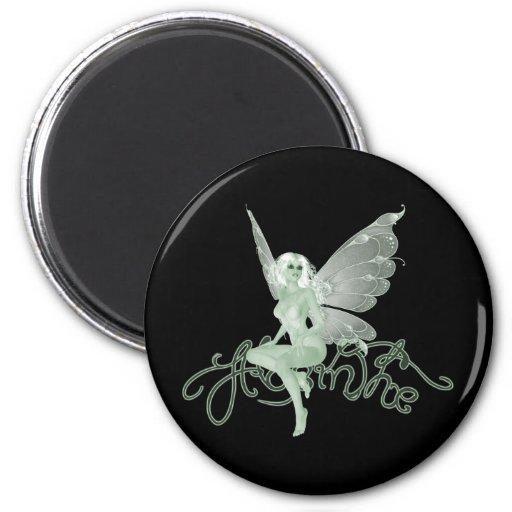 Hada del verde de la firma del arte del ajenjo - a imán redondo 5 cm
