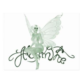 Hada del verde de la firma del arte del ajenjo - postales
