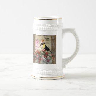 Hada del vintage y collage del pájaro tazas