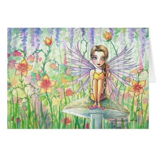 Hada dulce de la flor en espacio en blanco del ~ d tarjetas