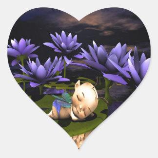 Hada durmiente del bebé pegatina en forma de corazón