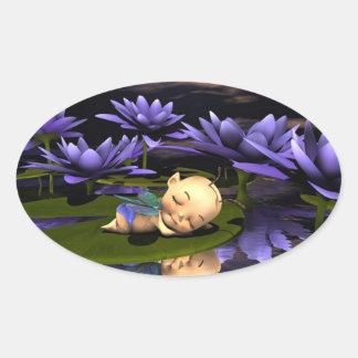 Hada durmiente del bebé pegatina ovalada