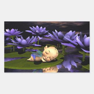 Hada durmiente del bebé pegatina rectangular