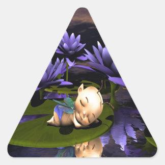 Hada durmiente del bebé pegatina triangular