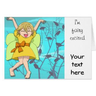 Hada emocionada tarjeta de felicitación