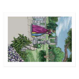 Hada en el jardín tarjeta postal