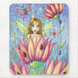 Hada en la flor rosada Mousepad por Molly Harrison Tapetes De Ratón