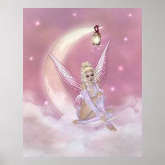 Hada en la luna - impresión de la fantasía poster