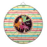 Hada en rayas brillantes del arco iris tablero de dardos