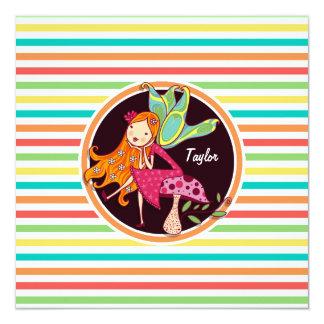 Hada en rayas brillantes del arco iris invitacion personalizada