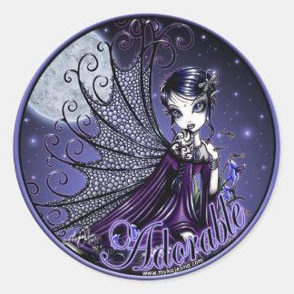 Hada gótica de la luz de luna del Victorian de los Pegatina Redonda