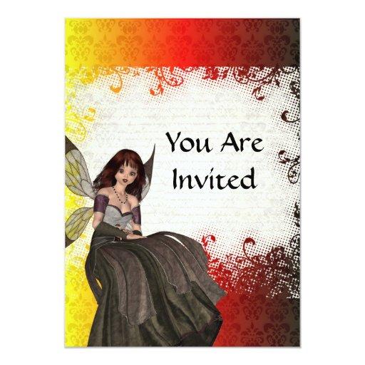 """Hada gótica linda invitación 5"""" x 7"""""""