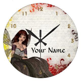 Hada gótica linda reloj redondo grande