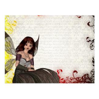 Hada gótica linda tarjeta postal