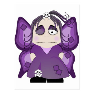 Hada gótica remendada en púrpura postales