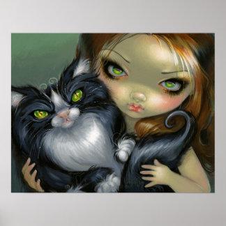 Hada grande del gato del ojo del smoking del gato  póster