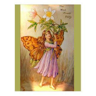Hada hermosa de la flor del viento tarjetas postales