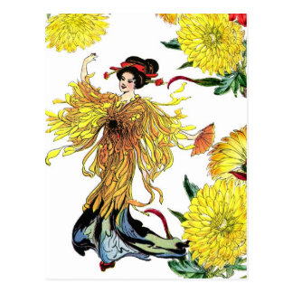 Hada japonesa de la flor del crisantemo con la fan postales