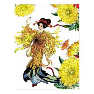 Hada japonesa de la flor del crisantemo con la fan tarjetas postales