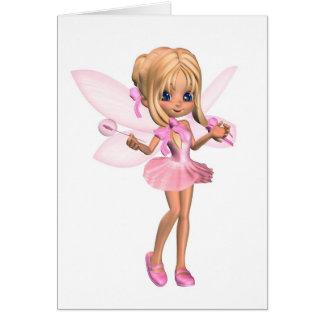 Hada linda de la bailarina de Toon en rosa - coloc Tarjeta De Felicitación