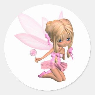 Hada linda de la bailarina de Toon en rosa - Pegatinas Redondas