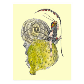 Hada linda de la mariposa de la fantasía del vinta postales