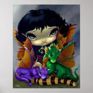 Hada linda del dragón de la IMPRESIÓN del ARTE de  Póster