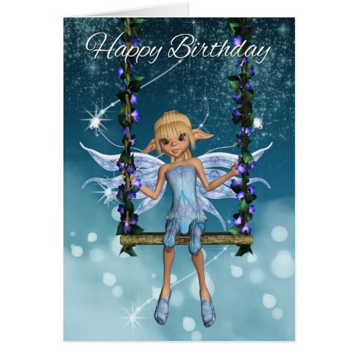 Hada linda del feliz cumpleaños en el oscilación tarjeta de felicitación