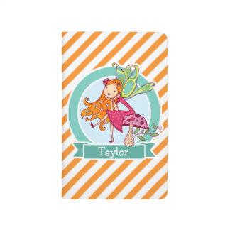 Hada linda en seta; Rayas anaranjadas y blancas Cuaderno