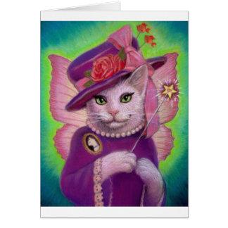 Hada madrina del gatito tarjeta de felicitación