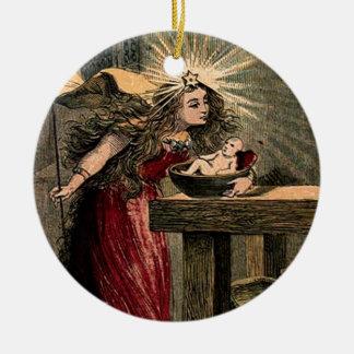 Hada madrina del vintage adorno navideño redondo de cerámica