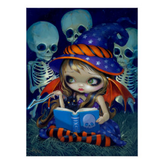 Hada mágica esquelética de la bruja de Halloween d Impresiones