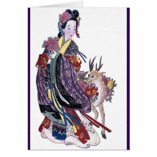 Hada MES-Ku-Hsien del Taoist y ciervos Tarjeta De Felicitación