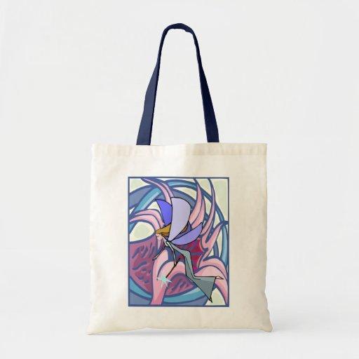 Hada mística con la bolsa de asas de la flor
